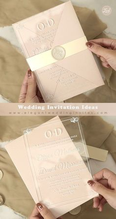 Clear Acrylic Wedding Invitations 1mm Matching with Blush Pink Envelope