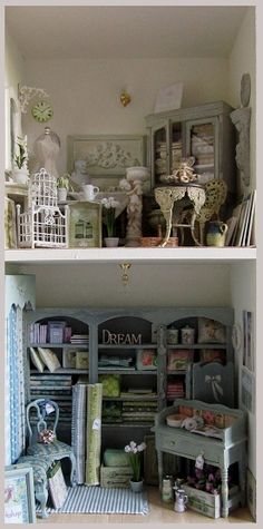 """Vintage Dreams"" by Friday's Child Miniatures Love the shelves on the lower level By my Friend Jackie Gilchrist"