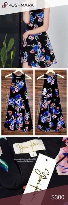 YUMI KIM Spring Mini Dress Intricate Casual Swingy Available Sizes: Small. Brand New With Tags. $198 MSRP + Tax.  • Beautiful floral printed mini dress featuring an effortless silhouette & swingy flared skirt. • Hidden back zip closure with racer-back. • Black with blue multi-color design. • Much prettier in person! • Runs true to size. • Self-lined body. • 100% Silk. • Lining: Polyester.  Summer Boho  {Southern Girl Fashion - Closet Policy}   ✔️ Same-Business-Day Shipping (10am CT). ✔️…