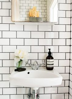 White subway tile bathroom black grout compact living i home decor organization bathroom tiles white bathroom . Metro Tiles Bathroom, White Subway Tile Bathroom, Bathroom Black, Downstairs Bathroom, Laundry In Bathroom, Master Bathroom, Bathroom Wall, Bad Inspiration, Bathroom Inspiration