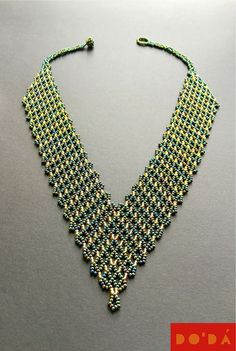 Indigenous Necklace / aquamarine  gold / green  gold and