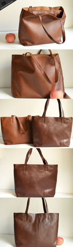 dd6b2c3f92184 Handmade Leather handbag shoulder bag large tote for women leather shopper  bag