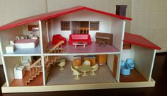 RARE Vintage Blue Box Candy Home Doll House with Furniture Original Box   eBay