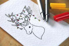 Hand Drawn Woodland Christmas Cards - Free Christmas Printable