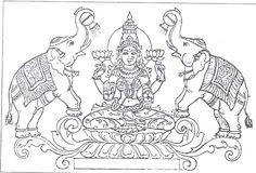 Mysore Painting, Kerala Mural Painting, Kalamkari Painting, Tanjore Painting, Art Drawings For Kids, Outline Drawings, Drawing Ideas, Ganesha Drawing, Indian Folk Art