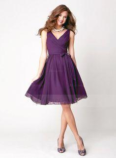 A-Line/Princess V-neck Knee-Length Ruffle Chiffon Zipper Up Regular Straps Sleeveless No Grape Spring Summer General Purple Bridesmaid Dress