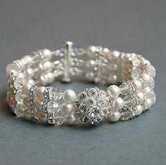 Wedding Cuff Bracelet , Wedding Crystals and Pearls Bracelet , Swarovski Bracelet, Wedding Jewelry on Etsy