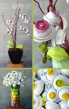 creative recycling: can flowers by Hillary Coe  http://www.hillarycoe.com/#Can-Love-1