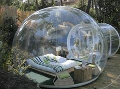 Inflatable Tent for Star Watching. Interesting things to do out there in your backyard. So simple and cheap to make, and you could play them with your kids or family anytime. http://hative.com/creative-and-fun-backyard-ideas/
