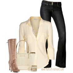 A fashion look from February 2013 featuring James Perse blouses, Paige Denim jeans and Diane Von Furstenberg boots. Browse and shop related looks. Cute Fashion, Look Fashion, Autumn Fashion, Fashion Outfits, Womens Fashion, Fashion Tips, Jean Outfits, Casual Outfits, Cute Outfits
