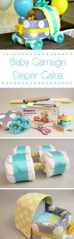We can't get enough of this baby carriage diaper cake! A definite must for every baby shower, not only because it makes a beautiful and creative centerpiece, but it's so easy to DIY! How-to instructions here: http://www.ehow.com/how_4814613_baby-carriage-diaper-cake.html?utm_source=pinterest.com&utm_medium=referral&utm_content=inline&utm_campaign=fanpage