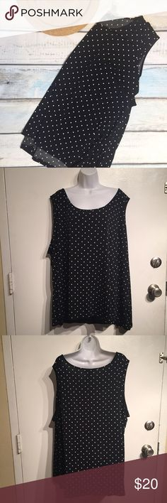 Catherine\'s Plus Size Black & White Polka Dot Top Catherine\'s Plus Size Black and white polka dot Sleeveless top. Size 5x. Perfect for spring and summer. Can be worn alone or paired under a cardigan. No modeling. Smoke free home. I do discount bundles. Catherines Tops Tank Tops