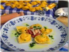 Maize tortelloni with salmon