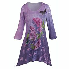 Womens Tunic Top  Lilacs And Butterflies 34 Sleeve Purple Shirt  Xxl * Find out more about the great product at the image link.Note:It is affiliate link to Amazon.