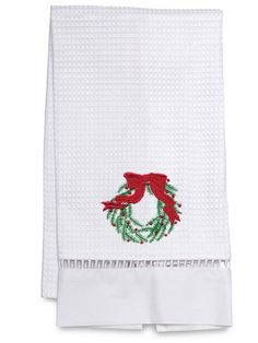 Guest Towel, Waffle Weave - Christmas Wreath (Green)  Perfect hostess gifts - customers buy for themselves and for their friends ... again and again. Made by a group of Zulu women in Kwa-Zulu Natal, South Africa, they add an elegant accent to any bathroom, are absorbent, durable and easy care.