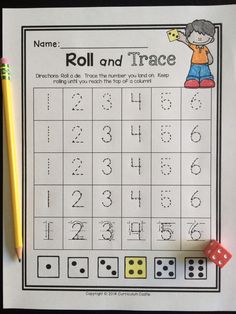Back to School kindergarten math: roll and trace a number! $