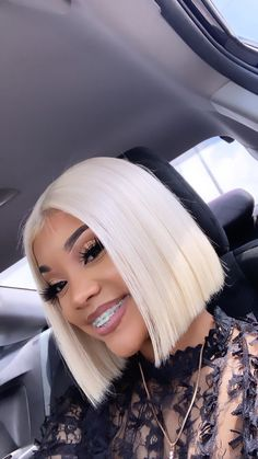Blonde Wigs Lace Hair Brown Wigs Black And Blonde Hair 360 Lace Wig Ur – Shebelt mall Grey Hair Wig, Lace Hair, My Hairstyle, Wig Hairstyles, Peinados Pin Up, Straight Lace Front Wigs, Black And Blonde, Short Bob Wigs, Hair Laid