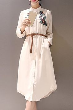 Ethnic Style Stand Collar Floral Embroidered Shirt Dress For Women