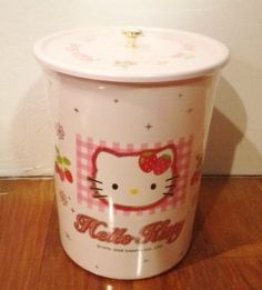 """Large Sanrio Hello Kitty Trash Can 11"""" Tall - Round by Sanrio,"""