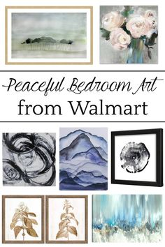 Simple, minimalist art ideas from Walmart that work perfectly in a bedroom to evoke a peaceful mood + charcoal gray wall paint.