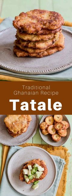 """Ghana: Tatale - 196 flavors - Authentic World Cuisine Website - Ghana: Tatale Tatale are delicious small spicy plantain patties that are also called the """"golden pancakes of Ghana"""". They are generally served with bambara beans. Banane Plantain, Ripe Plantain, Plantain Pancakes, Cooking Bananas, Ghanaian Food, West African Food, Frijoles, Food Staples, Side Recipes"""