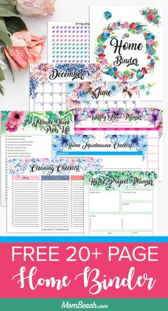Do you want your home clean and organized? Then, check out this free page Home Binder right away. It has free printable cleaning worksheets, a home project planner, a home maintenance planner, fre Free Printable Weekly Calendar, Printable Planner, Free Printables, Printable Calendars, Printable Templates, Planner Stickers, Printable Art, Free Planner, Weekly Planner