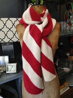 Knitionary: Candy Cane Scarf, free pattern preview