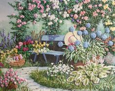 A Rose Garden - Ribbon Embroidery - Di van Niekerk