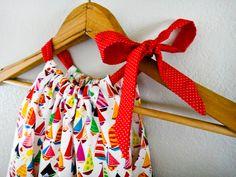 Sailboat Pillowcase Dress, Summer fun at the Marina, Designer Alexander Henry Fabric, 3m, 6m, 12m, 18m, 24m, 2t, 3t, 4t, 5y, 6y, 7y