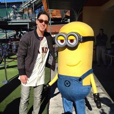 Tim Lincecum and Despicable Me's Tim the minion at 2013 SF Giants Fanfest