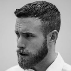 Short Crew Cut + Classic Tapered Sides + Short Beard - Trendy Short Hair with Beards - Cool Men's Short Haircut and Hairstyles with Beard Styles - Short, Long, Full, Thick Beards Pairing short hair and a beard can be a trendy style. Long Beard Styles, Beard Styles For Men, Long Hair Styles, Medium Beard Styles, Short Hair With Beard, Thick Beard, Fade With Beard, Cool Haircuts, Haircuts For Men