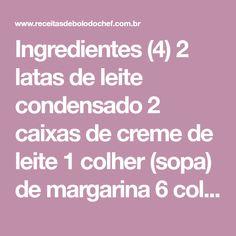 Ingredientes (4) 2 latas de leite condensado 2 caixas de creme de leite 1 colher (sopa) de margarina 6 colheres (sopa) de achocolatado em pó Como Fazer 1. Leve tudo à panela 2. E cozinhe em fogo brando 3. Deixe ferver... 4. Depois que baixar a fervura 5. Cozinhe até engrossar 6. +ou – 20 [...]
