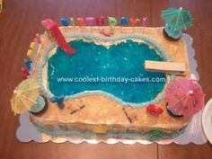 Homemade Pool Party Birthday Cake: I made this Homemade Pool Party Birthday Cake for 2 of my boys. I used 2 13x9 pans. I baked them both and placed them in the fridge for easier frosting.