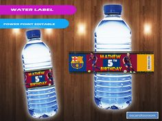 Barcelona Soccer Party Decoration water bottle labels #barcelona #soccer #party #labels #messi #soccerparty #soccerbirthday Soccer Birthday Parties, Kids Birthday Party Invitations, Birthday Party Decorations, 9th Birthday, Barcelona Soccer Party, Fc Barcelona, Party Printables, Party Labels, Bottle Labels