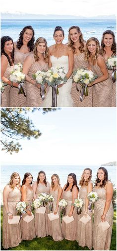 Long bridesmaid dress, beaded, blush, Lake Tahoe wedding // Suzanne Karp Photography