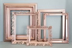 RESERVED Set of 5 Rose Gold Metallic Floral Vintage Empty Frames: wedding photo booth props bridal shower baby shower nursery wall art Rose Gold Picture Frame, Rose Gold Frame, Wedding Photo Booth Props, Photo Booth Frame, Photo Props, Baby Shower Photo Booth, Shower Baby, Bridal Shower, Baby Showers