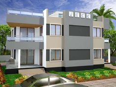 Pakistani 2 K2nal House 3D Front Elevation Design House