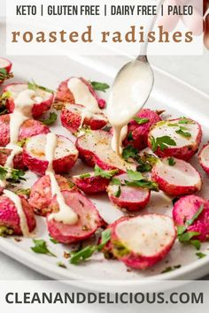 This roasted radishes recipe is easy and perfectly crispy! Made in the oven for an easy side dish. #cleananddelicious #radishes #recipe #roasted #easy Low Carb Side Dishes, Side Dishes Easy, Vegetable Side Dishes, Side Dish Recipes, Healthy Gluten Free Recipes, High Protein Recipes, Healthy Dinner Recipes, Vegetarian Recipes, Lemon Tahini Sauce