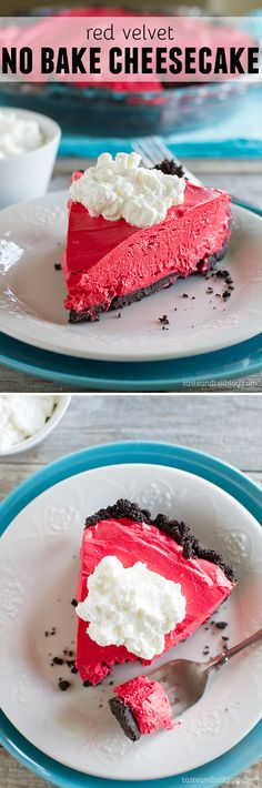 Love cheesecake but want something a little easier? This no bake cheesecake has a cookie crust and red velvet flavored cheesecake filling.