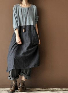 Blue long sleeves dress /Loose  linen dress by clothestalking