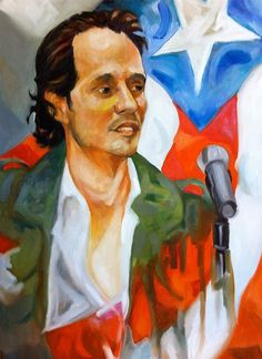 A painting of Marc Anthony done by artist Pedro Brull
