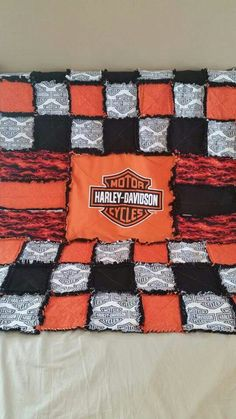 """Custom Harley Davidson rag quilt Facebook or Etsy: """"from out of my craft room"""" to order!"""