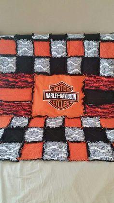 Custom Harley Davidson rag quilt  Facebook.com/fromoutofkimscraftroom to order!