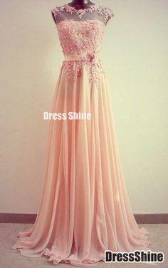 A Line Chiffon Lace Pink Cap Sleeves PROM Evening Dress - wedding dress