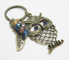 SALE Large Bronze Owl Charm Keychain Dark Blue by WhispySnowAngel, $9.95