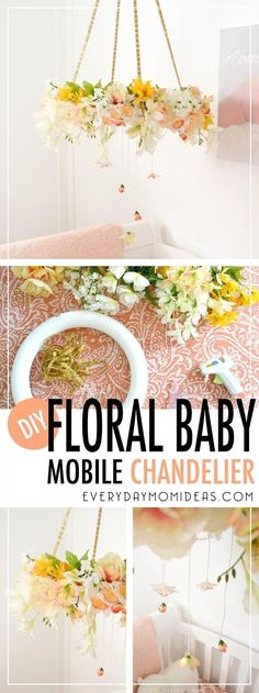 Make your own Floral Baby Mobil Chandelier/Dream Cathcer in less than two hours and $30.00 with this step by step FREE tutorial.