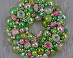 Vintage Christmas Ornament Wreath in Faded Pink and Pale Green with Shiny Brites, Fancy Indents, and Bird