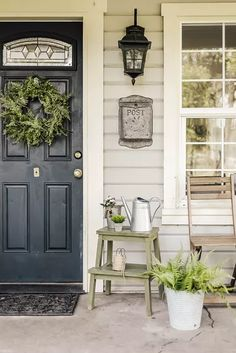 Front Door Colors: Ideas and Inspiration | Hunker Farmhouse Front Porches, Small Front Porches, Summer Front Porches, Summer Porch Decor, Small Patio, Country Porch Decor, Front Porch Flowers, Front Door Colors, Front Door Decor