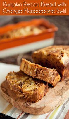 Pumpkin Pecan Bread with Orange Mascarpone Swirl - Krafted Koch