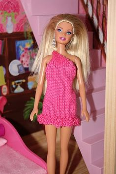 A one-shoulder dress for Barbie.